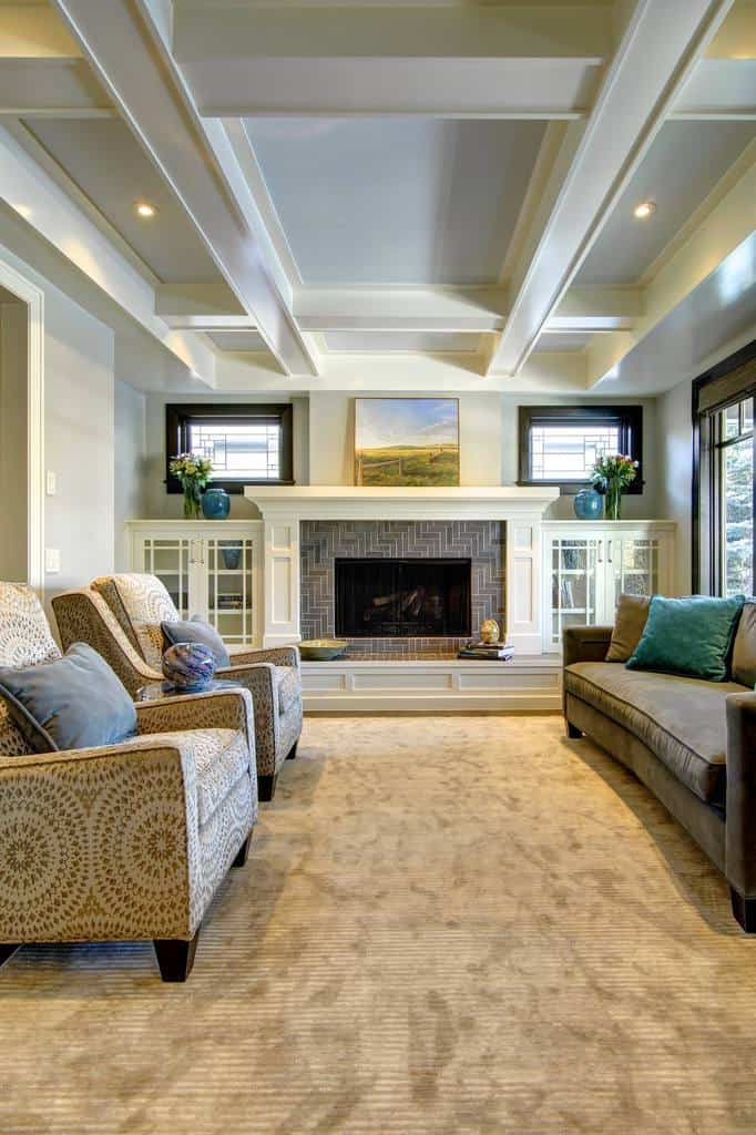 20 Craftsman Style Family Room Designs And Ideas Home Awakening,Navy Blue Feature Wall Living Room