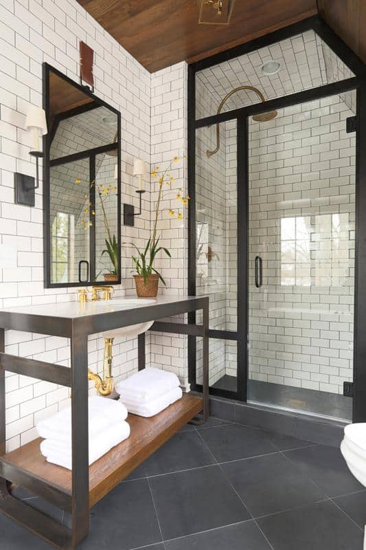 Subway Tile Combined with Hardwood