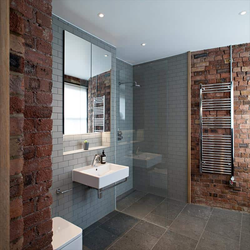 Gray Subway Tile and Brick Blend