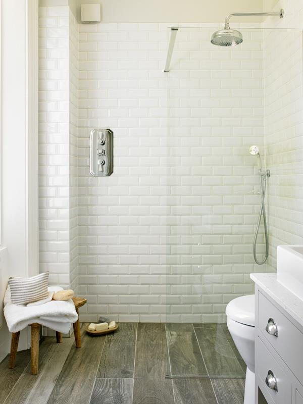 Transitional Corner Subway Tile Shower