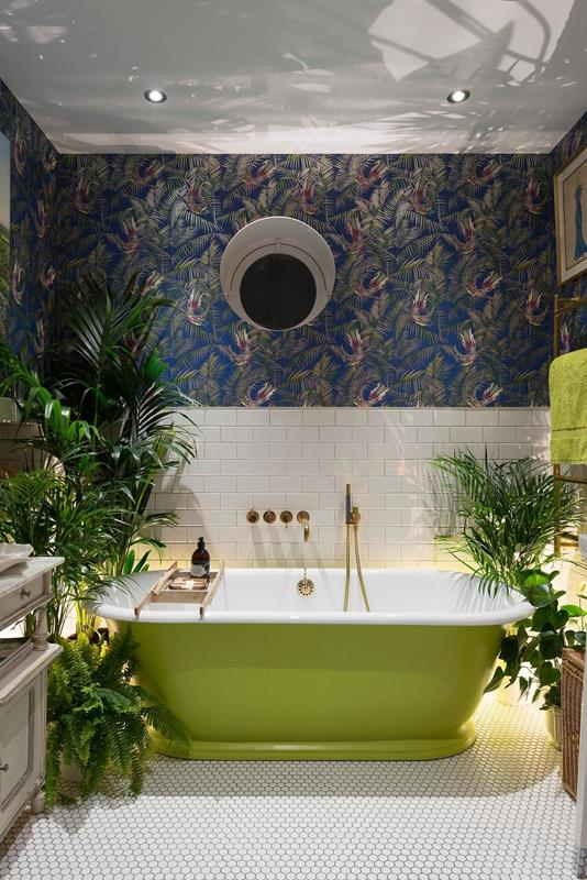 White Subway Tile in Tropical Setting