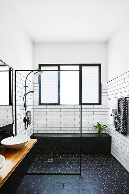 White and Black Subway Tile