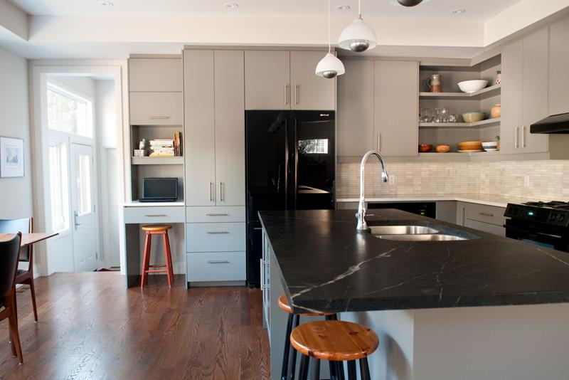 Black Appliances and Countertop