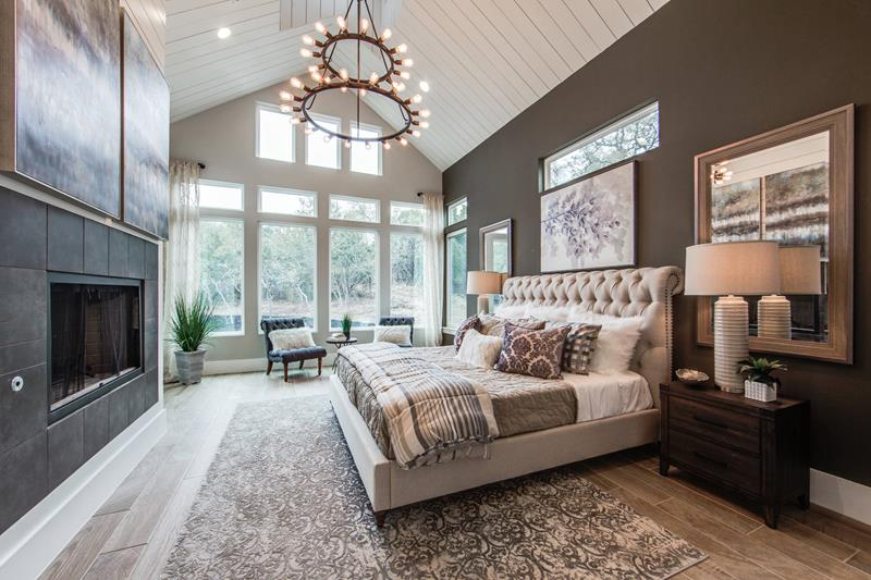 Teal And Gray Master Bedroom