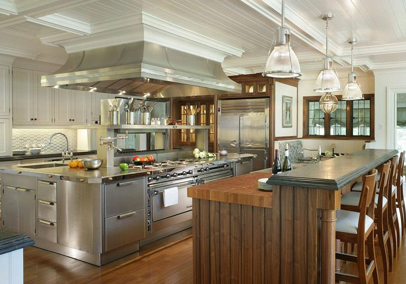 Stainless Steel and Hardwood