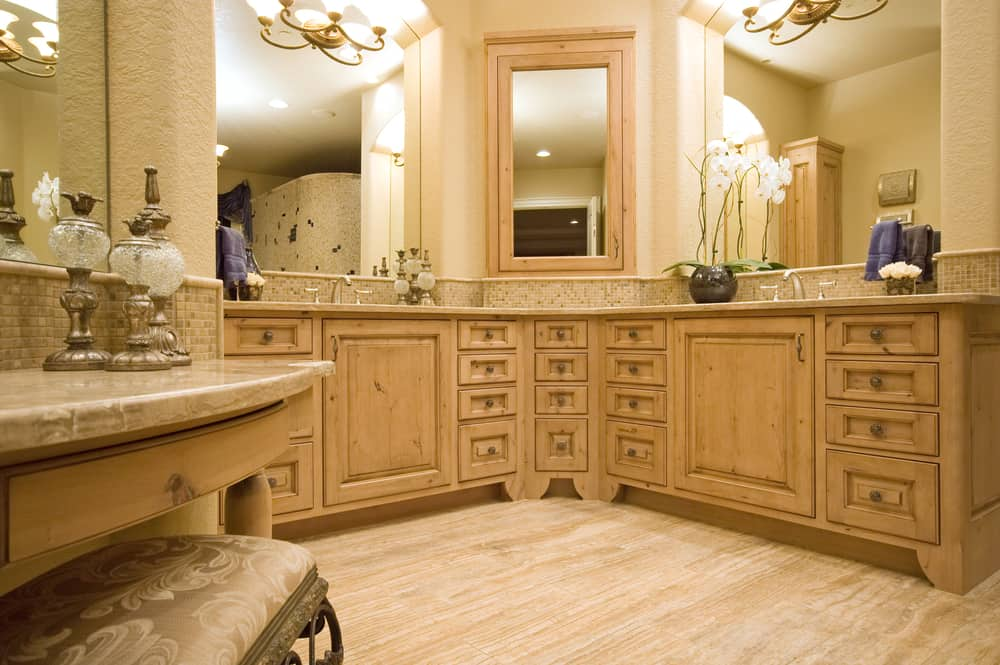 l shaped bathroom vanity