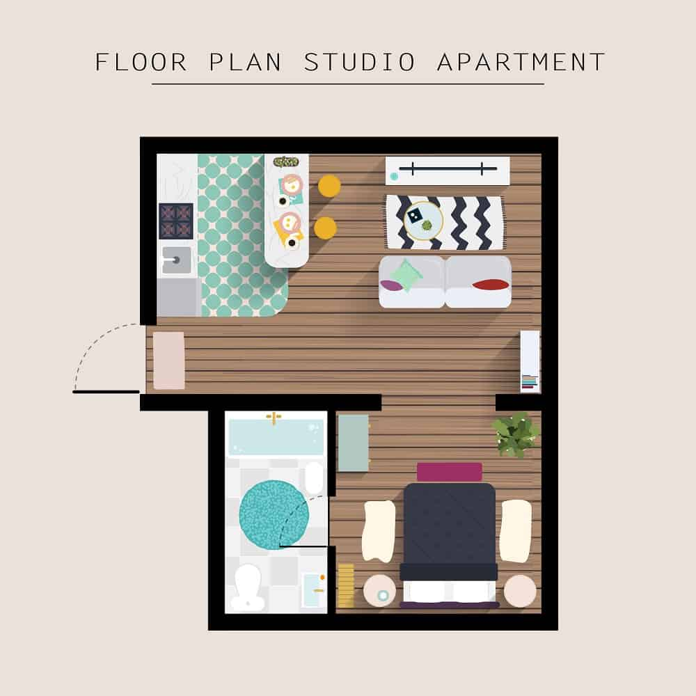 floor plan studio apartment