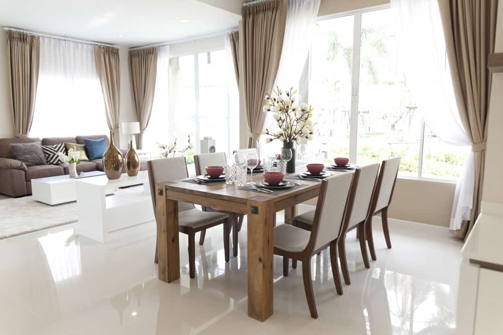 modern open plan living and dining room
