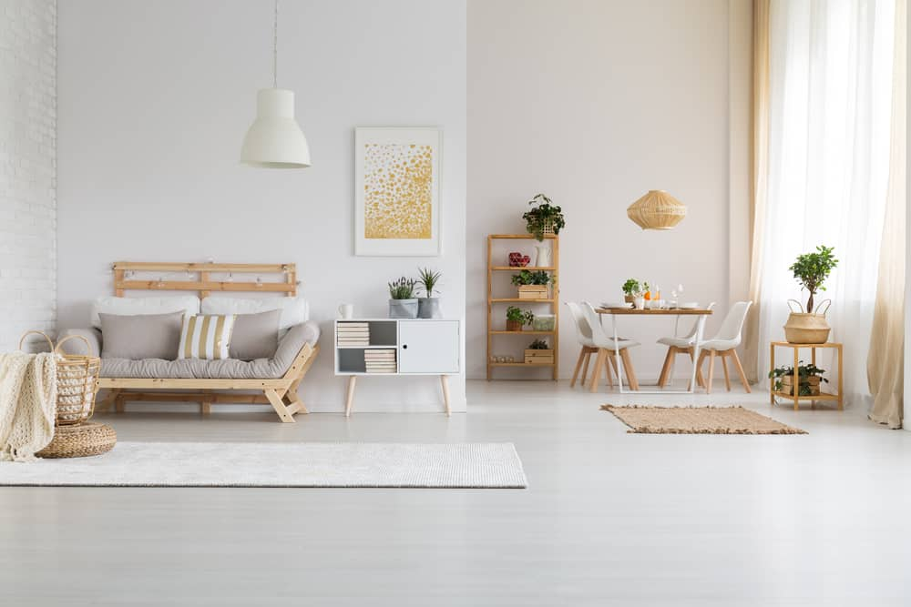 modern open space with wooden furniture set