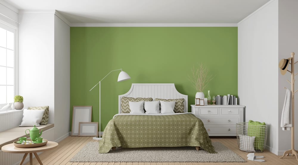 modern green and white bedroom